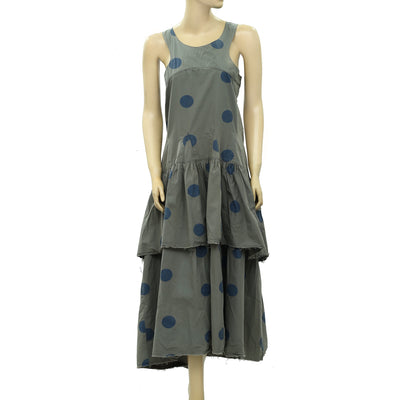 Ewa I Walla Peasant Lagenlook Vintage Polka Dot Printed Midi Dress L