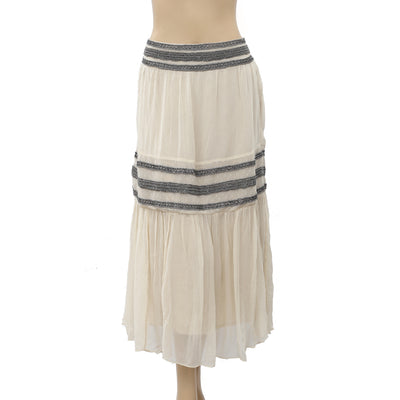 Moulinette Soeurs Anthropologie Beaded Embellished Midi Skirt M