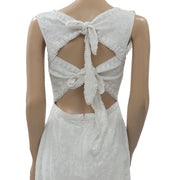 Uterque WITH GUIPURE AND RUFFLES Holiday Buttondown Ivory Dress S