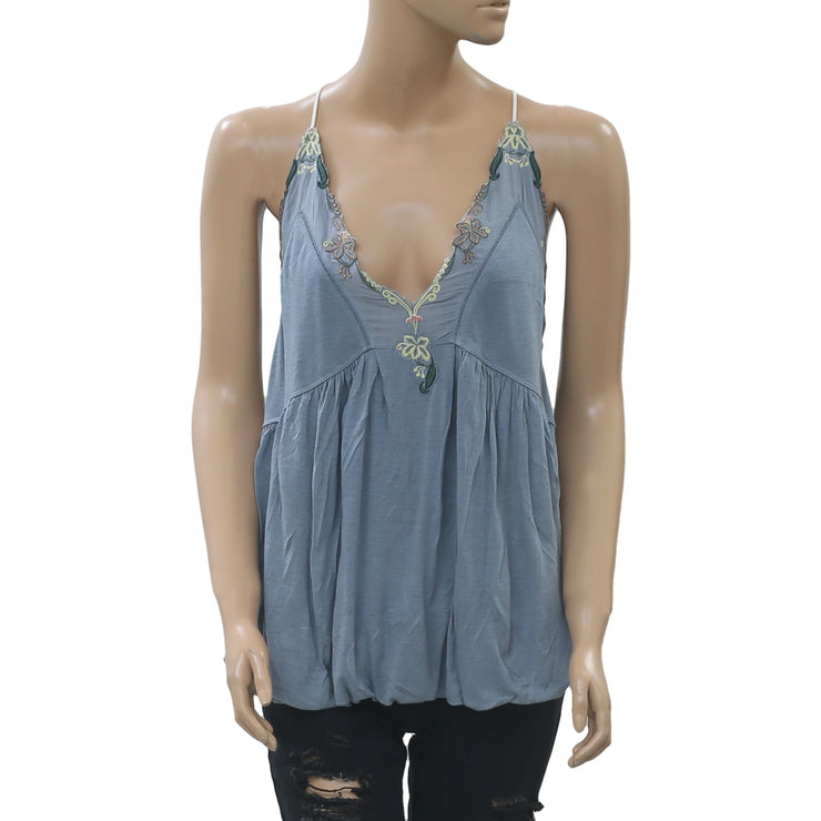 Free People Island Time Tank Blouse Top Floral Embroidered Blue L NWT