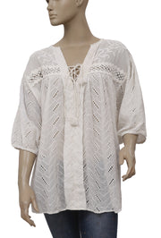 Free People Eyelet Embroidered Lace Up Peasant Top L