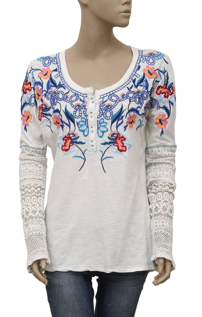 Sundance Floral Embroidered Buttoned Dolman Top S