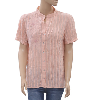 Giorgio Kanten Anthropologie Embroidered Shirt Top Buttondown Peach L