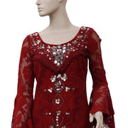 Free People Shell Game Shift Dress Embellished Mini Maroon S