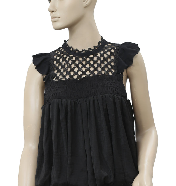 Free People FP One Brittany Blouse Black Top M