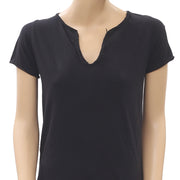 Zadig & Voltaire Beaded Embellished Buttoned  Black Tunic Top S
