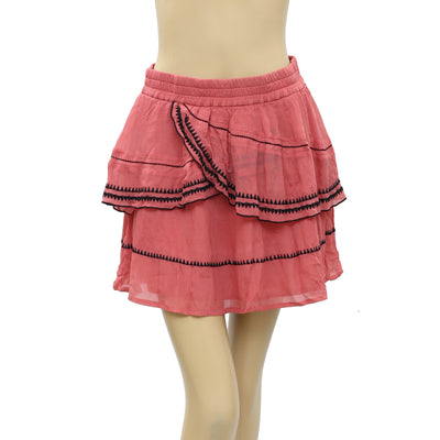 IRO Oviane Layered Embroidered Gauze Mini Skirt S 36