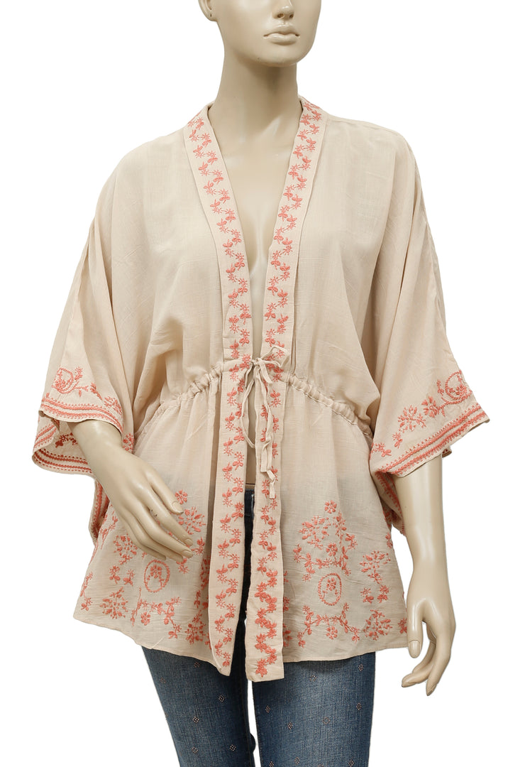 Free People Embroidered Beige Cardigan Top M