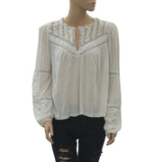 Free People Embroidered Lace Blouse Top Ivory Boho Eyelet Holiday S NEW