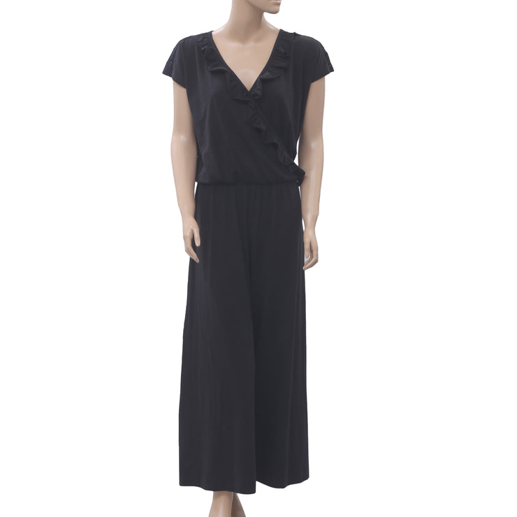 Odd Molly Anthropologie I Rock Jumpsuit Dress Lace Black Wide Leg S NEW
