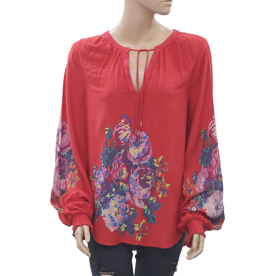 Anthropologie Printed Tunic Top Embroidered Smocked Boho Red M