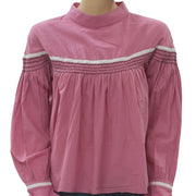 Free People Embroidered Pink Blouse Top S