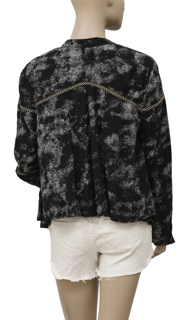 Ecote Embroidered Open Front Jacket L