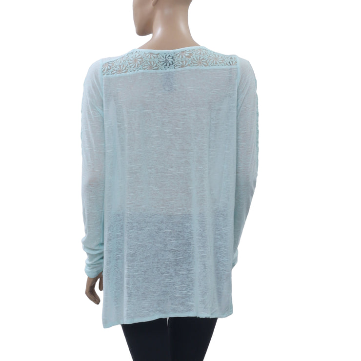 Free People FP New Romantics Gigi Tee Embroidered Mint Tunic Top S