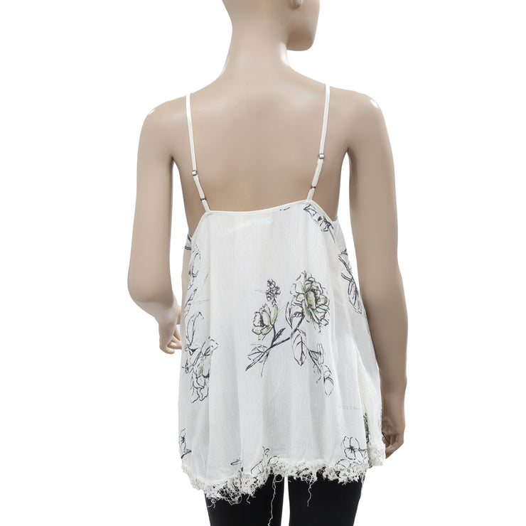 Kimchi Blue Floral Printed Sleeveless Lace Ivory Tunic Top Small S