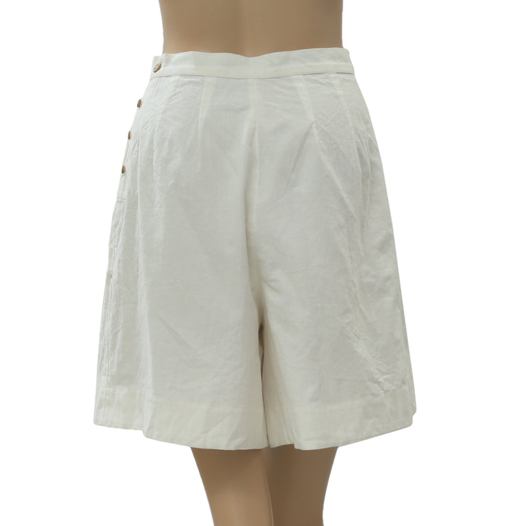 Free People Procida Ivory Mini Shorts Cotton High Waisted Beach XS