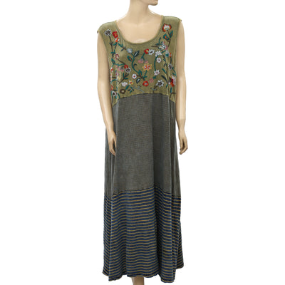 Soft Surroundings Floral Embroidered Maxi Dress 2X PS