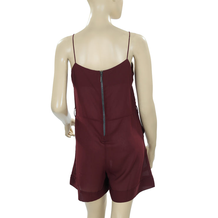 Anthropologie Pintuck Lace Sweetheart Neck Pocket Maroon Romper S