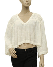 Free People Carry Me Away Crochet Crop Top L