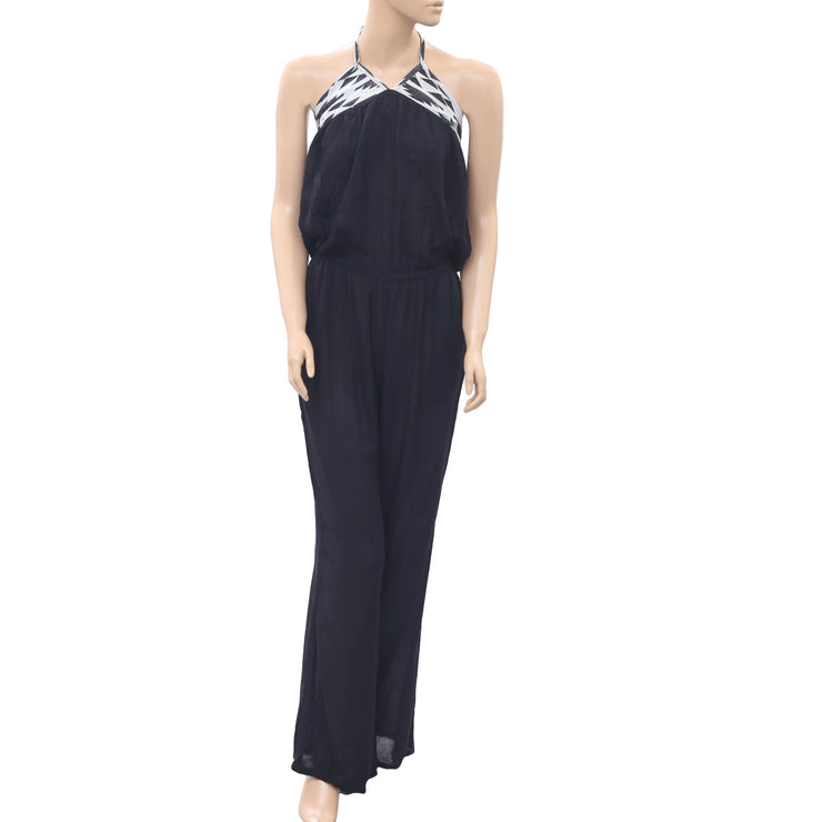 Ripcurl Desert Nights Halter Jumpsuit Dress Black Boho Holiday XS NEW