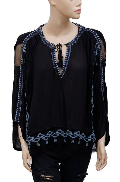 Free People Eden Black Blouse Top L