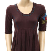 Caite Anthropologie Floral Embroidered Tunic Mini Dress S