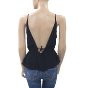 Free People Velvet Black Tank Blouse Top Boho Lace Endless Summer S New