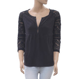 Odd Molly Anthropologie Mesh Embroidered Blouse Top Black Boho Cotton XS