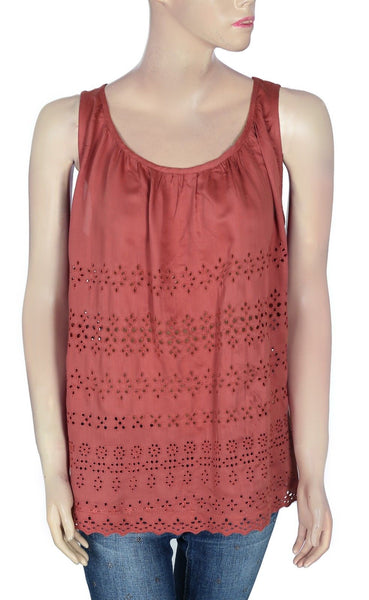 Lucky Brand Embroidered Rust Top M