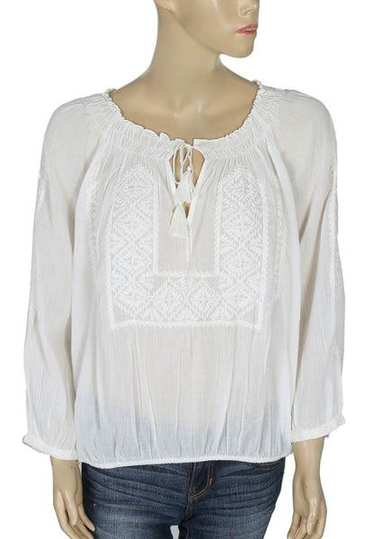 Joie Callaway Embroidered Peasant Cotton Top L