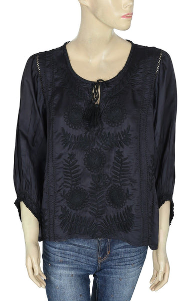 Zara Embroidered Black Top M