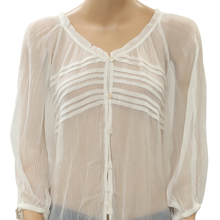 Kimchi Blue Urban Outfitters White Buttondown Sheer Blouse Shirt Top S