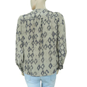 Zadig & Voltaire Printed Round Neck Long Sleeve Gray Blouse Top M
