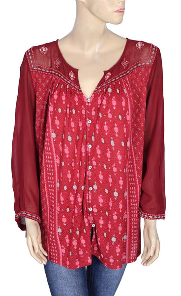 Lucky Brand Printed Buttondown Top PS 3X