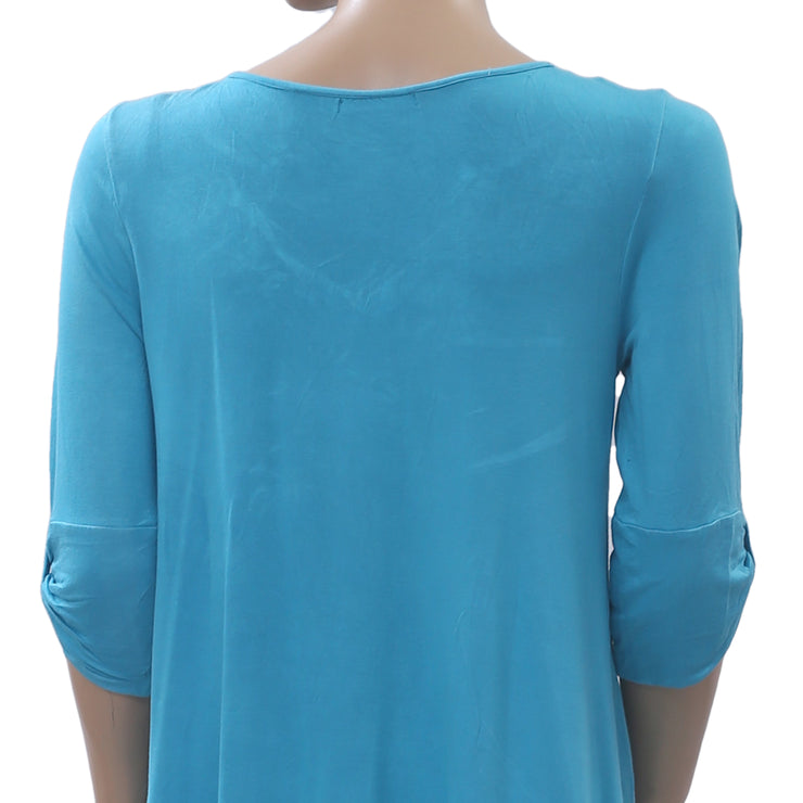 Caite Anthropologie Floral Embroidered Tunic Top Blue Holiday Boho S NEW