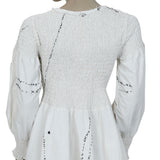 Ewa I Walla Peasant Lagenlook Vintage Smocked Embroidered Dress M