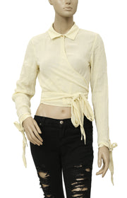 Free People Tie Knot Yellow Wrap Top S