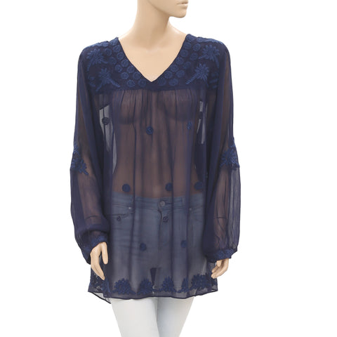 Antropologie Floral Embroidered Oversized Sheer Navy Tunic Top L