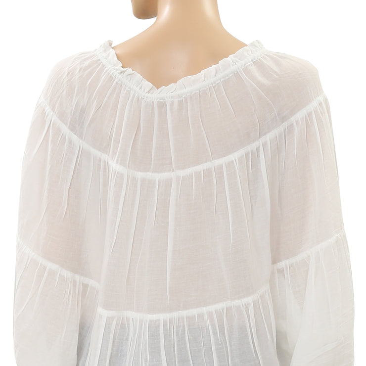 Free People White Nico Blouse Top XS