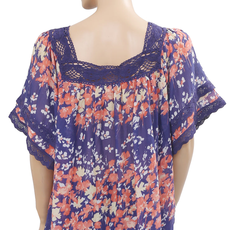 Monsoon Printed Crochet Lace Tunic Top XL