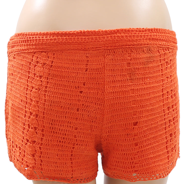 Element Crochet Lace Draw String Orange Cotton Shorts Small S
