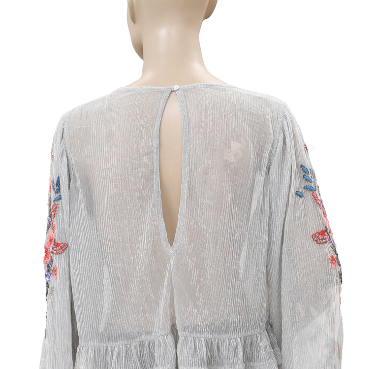 Free People Embellished Embroidered Gray Blouse Top L