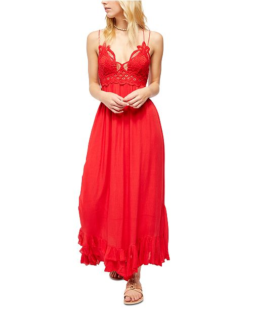 "Free People FP One ""Adella"" Slip Crochet Lace Maxi Dress"