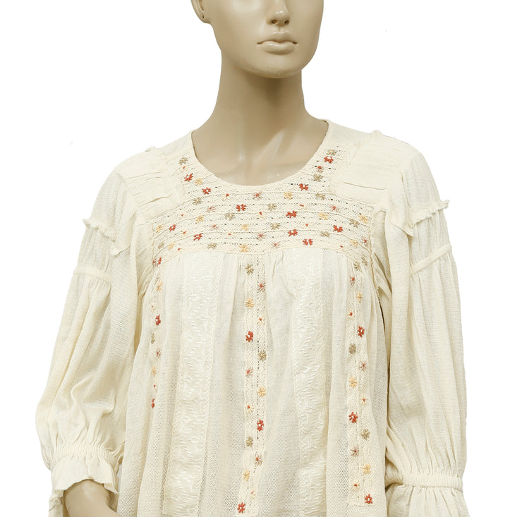 Free People FP New Romantics Peasant Embroidered Ivory Blouse Top S
