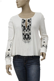 Free People FP x Marion Embroidered Thermal Swing Top Ivory S