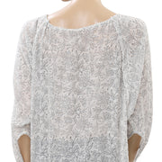 Anthropologie Floral Printed Ivory Blouse Top M