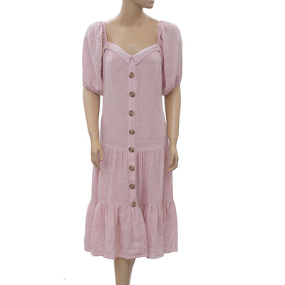 Free People Buttondown Pink Midi Dress S