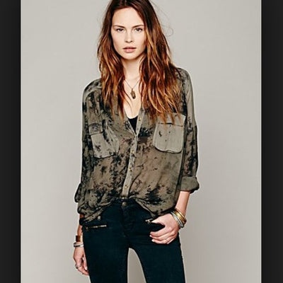 Free People Cloud Wash Buttondown Shirt Tunic Top M