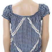 Free People Peggy Sue Off Shoulder Check Plaid Blouse Top XS