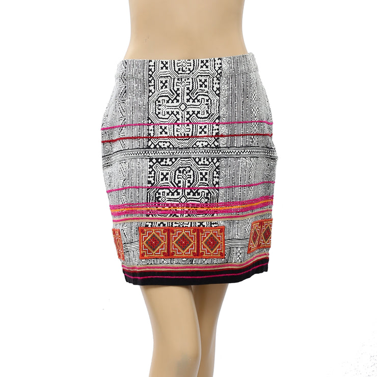 Tintoretto Printed Colorful Embroidered Skirt S